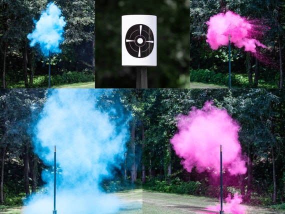 XL Shooting Target Gender Reveal, Skeet Shooting Targets, XL Hanging Targets in Pink, Blue, Green, Purple, Yellow,  Orange Powder Confetti