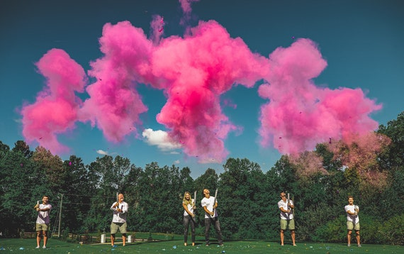 "6 Gender Reveal Cannons! Powder Cannons in Pink and Purple for Girl or Blue and Green for Boy - 32"", 24"", and 12"" Cannons 6 Cannon Bundle"