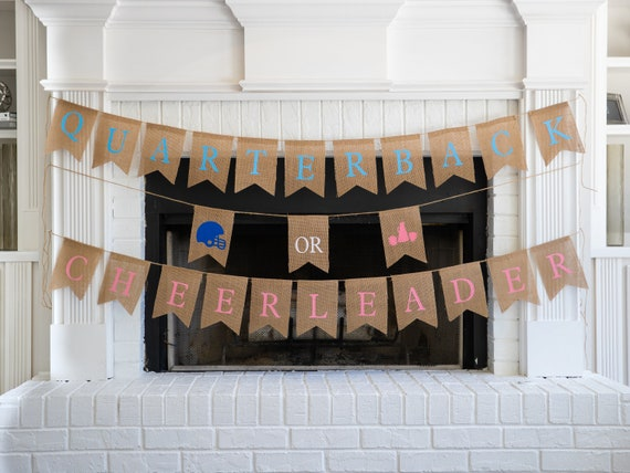 QUARTERBACK or CHEERLEADER Burlap Banner! The Perfect Gender Reveal Theme! Customizable Burlap Banners! Perfect Gender Reveal Ideas!