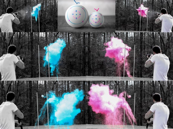 Shooting Target Gender Reveal, Skeet Shooting Targets, XL Hanging Targets in Pink, Blue, Green, Purple, Yellow, and Orange Powder Confetti