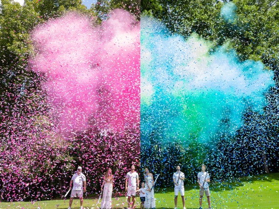 Gender Reveal Cannon Smoke Powder, Confetti, and Streamers in one Cannon! In Pink or Blue