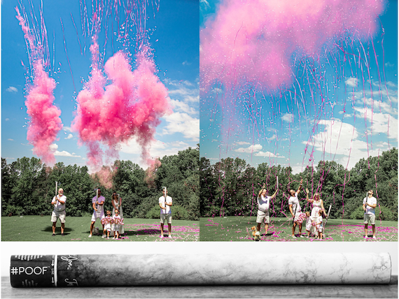 Confetti+Powder+Streamers Gender Reveal Cannon Smoke Powder, Confetti, and Streamers in one Cannon! In Pink or Blue