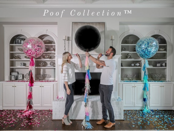 "36"" Black Gender Reveal Balloon filled with Designer Pink or Blue Confetti Poof Collection™ Posh Collection™ Venice Collection™"