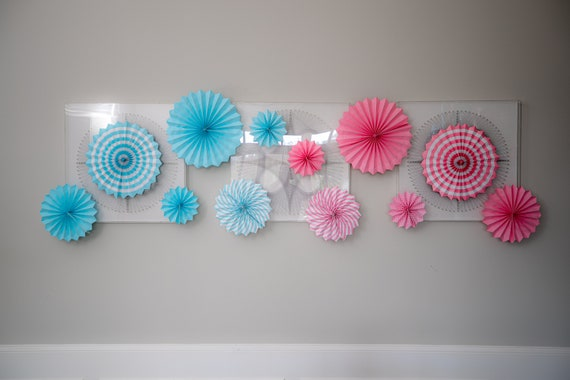 Decor Fans for Gender Reveal Party Decor in Pastel Blue and Blush Pink! Perfect way to add an Soft pop of color to your Gender Reveal!