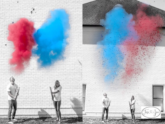 4th of July Gender Reveal in Blue and Red Confetti & Powder Cannon Gender Reveal Both Smoke Powder and Confetti for Independence Day!