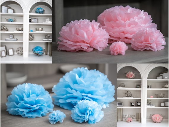 "Paper Poofs for Gender Reveal Decor from the Venice Collection in 4"" 8"" 12"" and 16"" in Pastel Blue, Blush Pink, or White"
