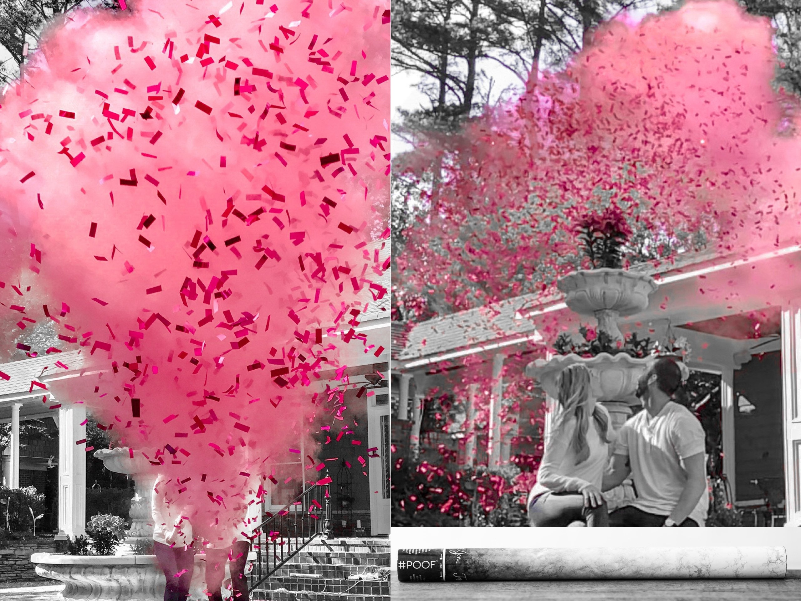 Available In 3 Sizes Powder /& Confetti Gender Reveal Cannons
