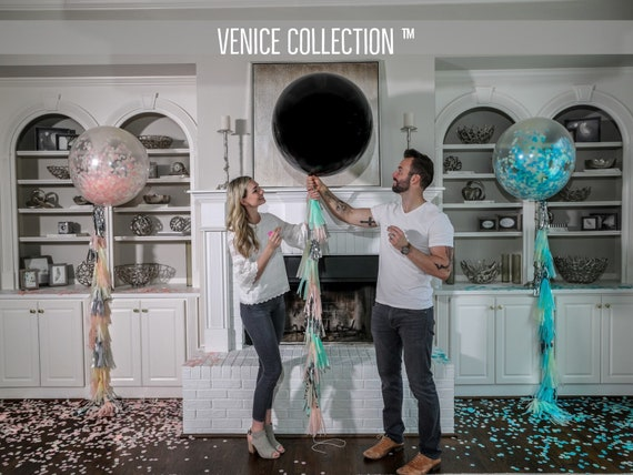 "36"" Black Gender Reveal Balloon filled with Designer Pink or Blue Confetti Venice Collection™ Poof Collection™ Posh Collection™"