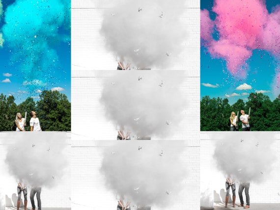 "24"" Gender Reveal Roulette Cannon in Powder or Powder & Confetti Pink Blue and White! Fun Gender Reveal Game"
