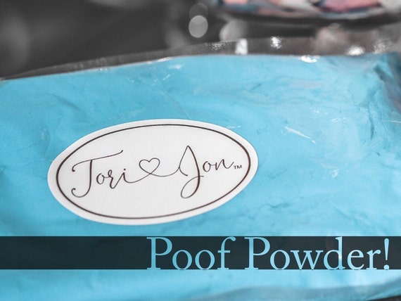 Gender Reveal Powder in Pink Blue Green Red Purple Yellow Orange Poof Powder™ Powder Cannon Powders Gender Reveal Ideas