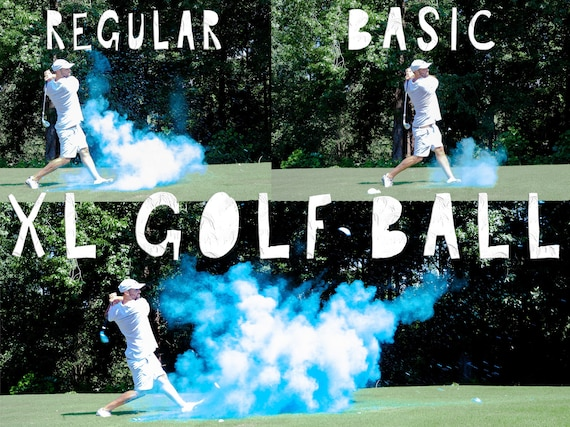 XL Golf Ball Powder + Confetti + Streamers Gender Reveal Golf Ball in Pink or Blue!  Don't Be Scammed by Knock Offs