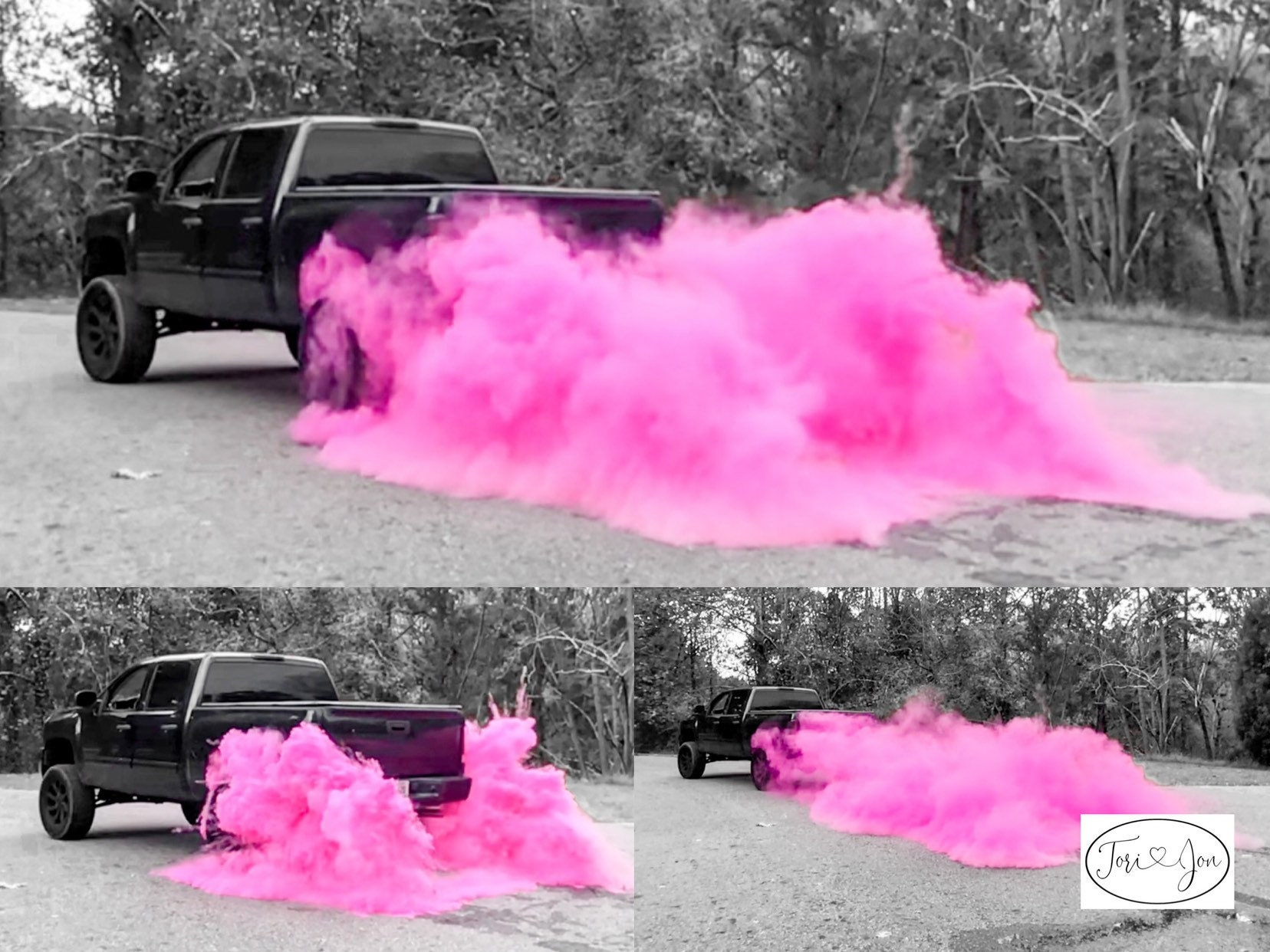 3lb Premium Burnout Gender Reveal Simple Black Tire Pack In Pink