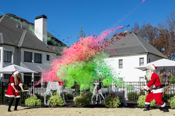 "24"" Powder & Confetti Cannons for a Holiday Gender Reveal Green, Red, and White Confetti Cannons Confetti and Powder"