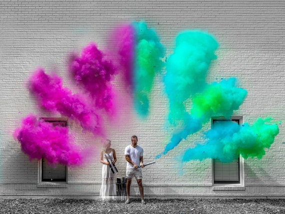 New* Powder Gender Reveal Cannon 2 Colors of Smoke Powder in One Cannon! In Pink + Purple or Blue + Green
