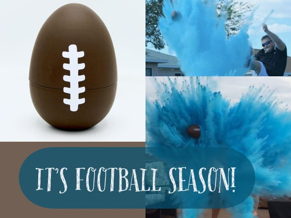 """10"""" FOOTBALL Gender Reveal Football with 8x Powder!!!! Ships Same Day! In Pink, Blue, Purple, Orange, Green, Yellow"""