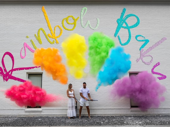 Rainbow Baby Gender Reveal Cannons in Smoke Powder and Confetti! Red, Orange, Yellow, Green, Blue, Purple Cannons to Celebrate Your Baby!