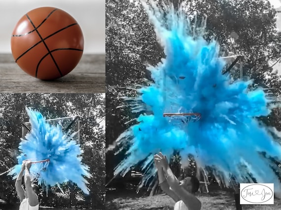 Gender Reveal Basketball Ball Filled w/ Pink or Blue Powder and or Confetti! Basketball Gender Reveal Pair w/ Powder & Confetti Cannons