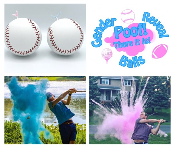 JUMBO BASEBALL 2x Powder / SOFTBALL Gender Reveal Ball (Custom Combinations and Styles) Gender Reveal Softball
