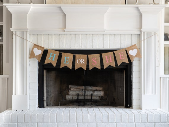 HE or SHE Burlap Banner! The Perfect Gender Reveal Theme! Customizable Burlap Banners! Perfect Gender Reveal Ideas!