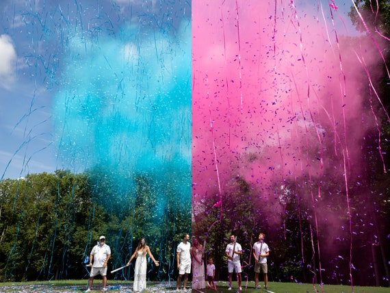 Baby Gender Reveal Cannon Smoke Powder, Confetti, and Streamers in one Cannons! In Pink or Blue