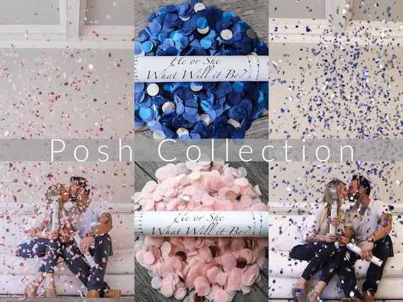 Confetti Cannon for Gender Reveals Posh Collection™ By: Tori & Jon™ Stylized Peach Blush Rose Gold Navy Blue Metallic Blue Silver