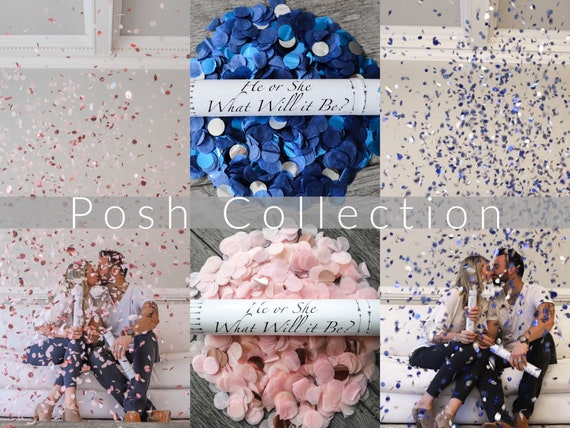 Designer Confetti Cannon for Gender Reveals Posh Collection™ By: Tori & Jon™ Stylized Peach Blush Rose Gold Navy Blue Metallic Blue Silver