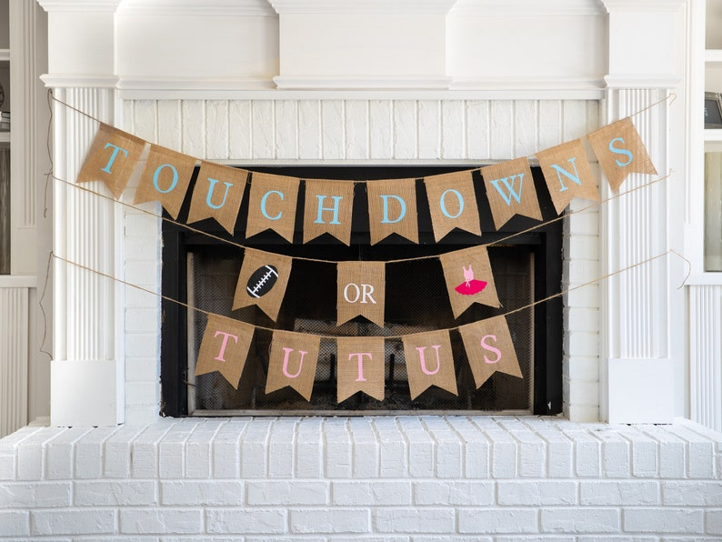 Touchdowns or Tutus Burlap Banner The Perfect Football Gender image 0