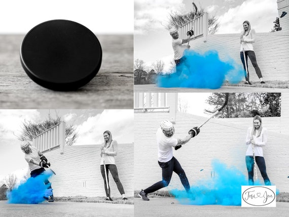 Powder Hockey Puck for Gender Reveals in Pink or Blue Hockey Pucks for the True Hockey Fan!