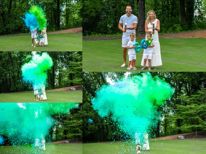 24 Smoke Powder Cannon\u2122 Confetti Cannons and PowderConfetti Cannons in Pink Blue White for Gender Reveals Powder Cannons As seen on TV!