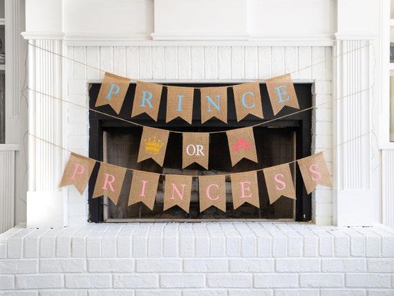 PRINCE or PRINCESS Burlap Banner! The Perfect Gender Reveal Theme! Customizable Burlap Banners! Perfect Gender Reveal Ideas!