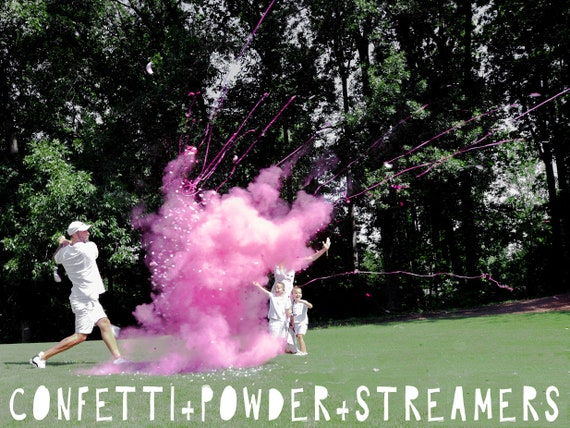Gender Reveal Golf Ball Powder + Confetti + Streamers! Gender Reveal Golf Ball in Pink or Blue! Don't Be Scammed by Knock Offs...