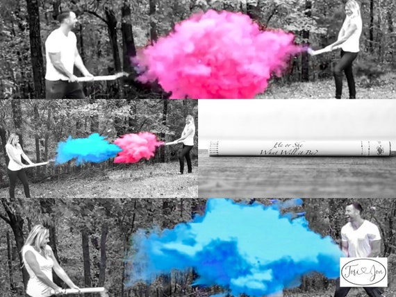 "24"" Smoke Powder Cannon™ Confetti Cannons and Powder/Confetti Cannons in Pink Blue White"