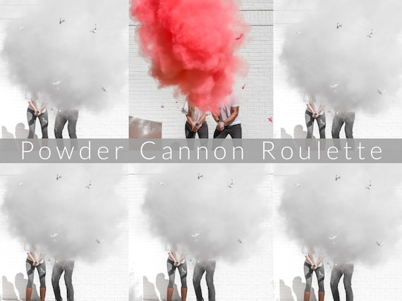 "24"" Confetti Cannon Roulette or Powder Cannon Roulette for Gender Reveals in Smoke Powder Cannons or Confetti Cannons! Pink Blue and White"