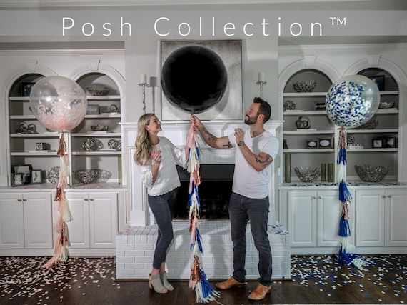 "36"" Black Gender Reveal Balloon filled with Designer Pink or Blue Confetti and Tassel Posh Collection™ Venice Collection™ Poof Collection™"