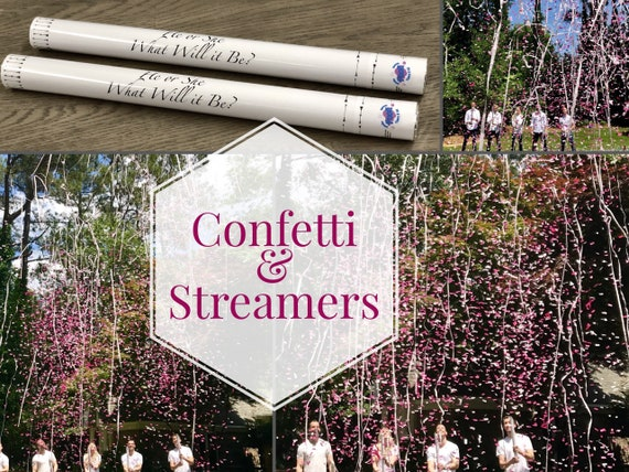 "24""  CONFETTI & STREAMERS CANNON Gender Reveal Confetti Cannon and Confetti Cannons! *New* Gender Reveal Idea! Ships Same Day!"