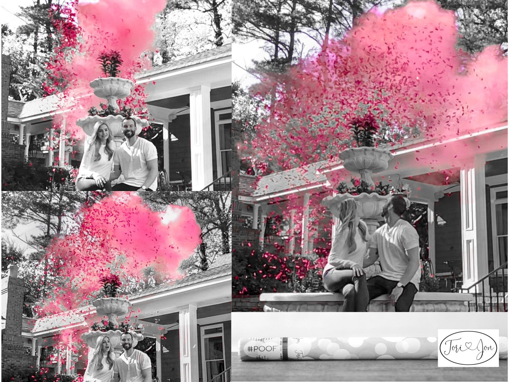 Pink! Smoke Powder Cannon Gender Reveals Poof there it Is