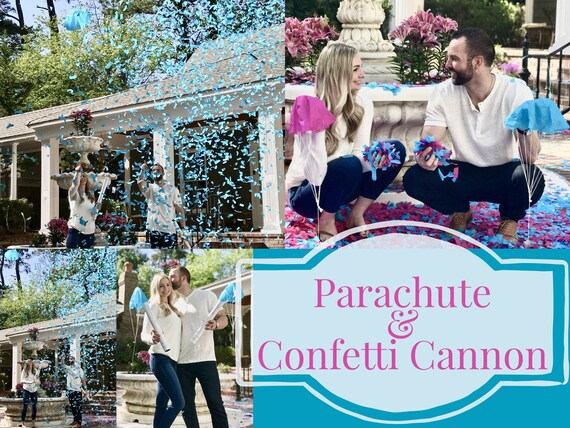 "24"" Confetti & Parachute Cannons Gender Reveal Confetti Cannon Powder Cannon Sponge Ball Cannon Powder and Confetti Cannon Blue Pink White"