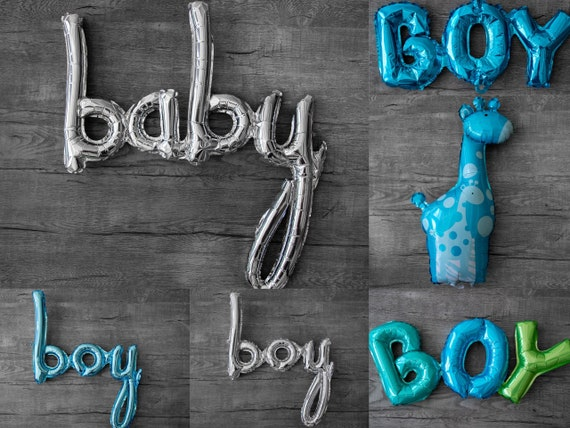 Boy Balloon in Silver or Blue for Gender Reveals or Baby Showers Decorations