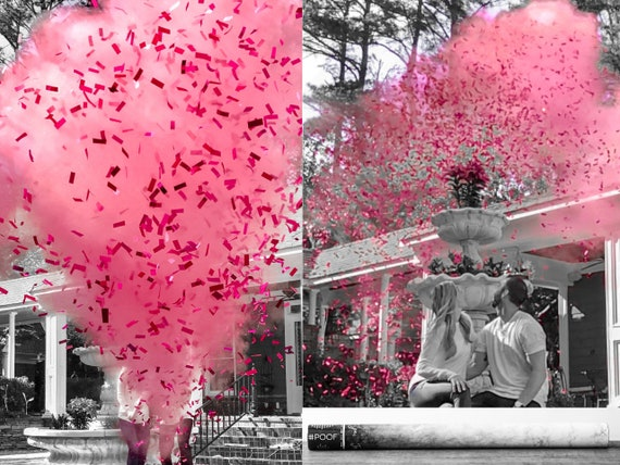 "32"" Confetti & Powder Cannon Gender Reveal Both Smoke Powder and Confetti in one Cannon! Smoke Powder Cannons and Confetti Cannons Pink Blue"