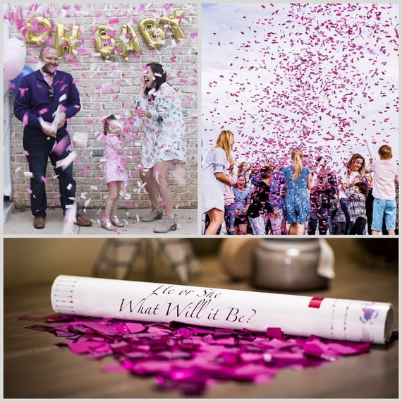 "18"" CONFETTI CANNON Gender Reveal Pink, Blue, White Confetti Cannons! Unique Gender Reveal Idea! Confetti Poppers  Pregnancy reveal"