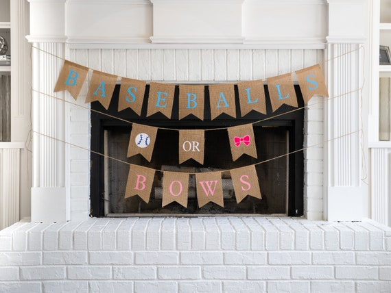 BASEBALLS or BOWS Burlap Banner! The Perfect Gender Reveal Theme! Customizable Burlap Banners! Perfect Gender Reveal Ideas!