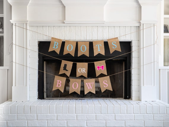 BOOTS or BOWS Burlap Banner! The Perfect Gender Reveal Theme! Customizable Burlap Banners! Perfect Gender Reveal Ideas!