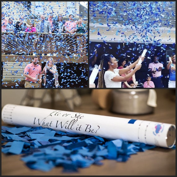 "24"" Confetti Cannon Gender Reveal Pink, Blue, White Confetti Cannons Confetti and Powder Confetti and Streamers  Sponge Balls or Holi Powder"