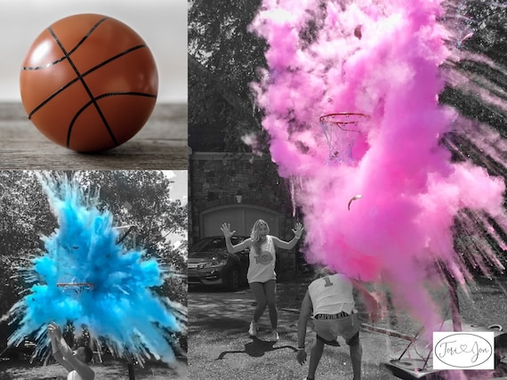 Basketball Gender Reveal Ball Filled w/ Pink or Blue Powder and or Confetti! Gender Reveal Basketball Pair w/ Powder & Confetti Cannons