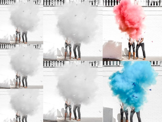 "12"" Gender Reveal Roulette Powder Cannons in Pink or Blue Smoke Powder Cannons! Pink Blue and White"