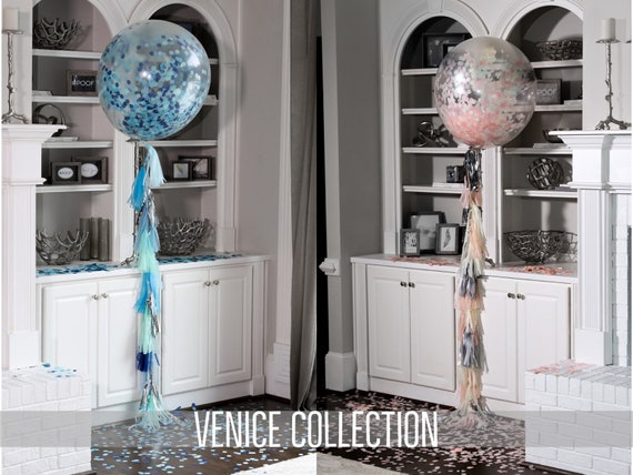 "Confetti Balloons 36"" 24"" 12"" Venice Collection™ By Tori & Jon™ Pink Blue Gender Reveal Decor Pair w/ Cannons"
