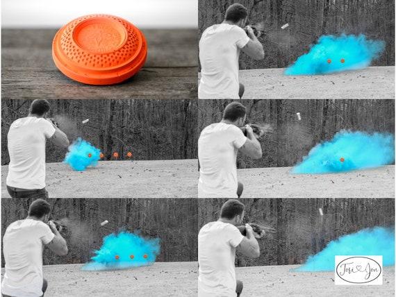 Skeet Shooting Target Gender Reveal Shooting Target Ball in Pink or Blue! Pair w/ Our Banners Buck or Doe Rifles or Ruffles Guns or Glitter