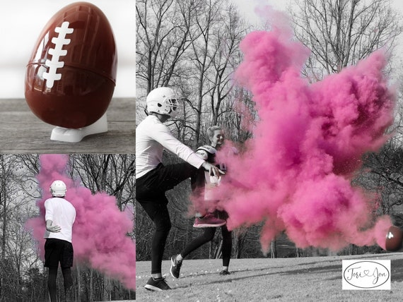 "10"" Powder & Confetti Gender Football Reveal Ball Gender Reveal Football Ships Same Day! Pink, Blue, Purple, Green, Yellow, Orange Red"