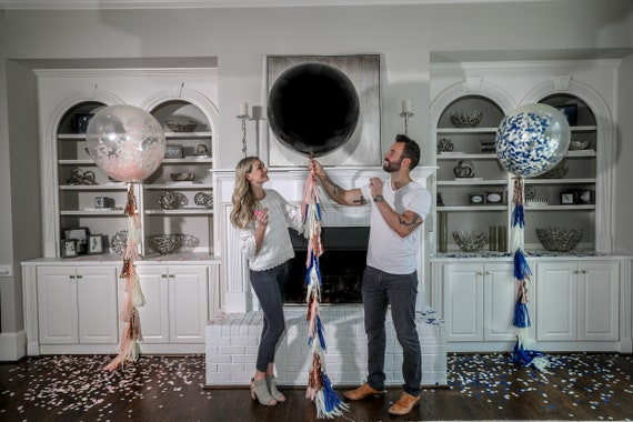 """Confetti Balloons 36"""" 24"""" 12"""" Posh Collection™ By Tori & Jon™ Pink Blue Gender Reveal Decor Pair w/ Cannons"""