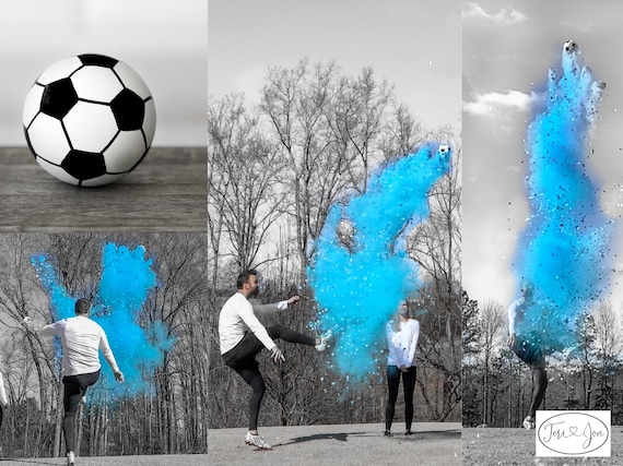 Gender Reveal Soccer Ball w/ Powder & Confetti in Pink, Blue, Green, Yellow, Orange, Purple, White! Soccer Gender Reveal Soccer Ball